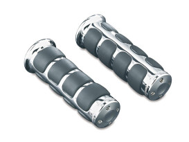 ISO Handgrips with Chrome Finish. Fits Sports Bikes.