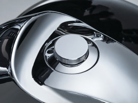 Flush Mount Pop-Up Fuel Cap - Chrome. Fits Big Twin & Sportster 1996up.