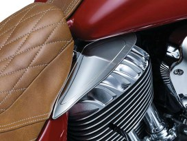 Reflective Saddle Shields - Smoke. Fits Indian 2014up.