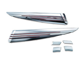 LED Saddlebag Extensions with Red Lenses & Chrome Finish. Fits Touring 1993-2013.