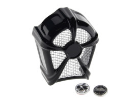 Mach 2 Horn Cover with Chrome Mesh - Black. Fits H-D 1992up with Stock Cowbell Horn # 69060-90 & Replaces the Stock Waterfall Horn Cover # 69012-93.