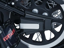 Rear Axle Covers with Black Finish. Fits Softail 2008-2017
