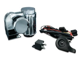 Deluxe Wolo Bad Boy Air Horn Kit. Fits Big Twin & Sportser 1992up with Stock Cowbell Horn.