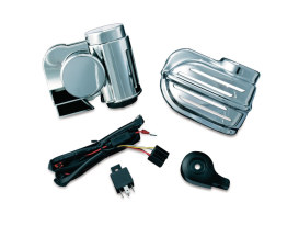 Super Deluxe Wolo Bad Boy Air Horn Kit with Cover. Fits Big Twin & Sportser 1992up with Stock Cowbell Horn.