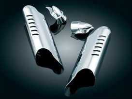 Lower Leg Deflector Shields with Fender Boss Covers -Chrome. Fits Touring 2000-2013.