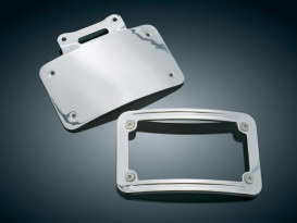 Curved Number Plate Frame with Chrome Finish. Fits Slimline Low-Profile Tombstone Taillight.