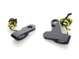 Elypse Under Perch Turn Signals - Black. Fits Softail 2015up & Touring 2009up Models with Cable Clutch.