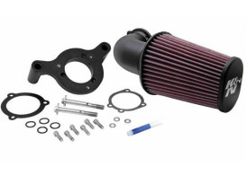Forward Facing Aircharger Air Filter Assembly with Black Finish. Fits Big Twin 1993up.
