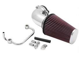 Forward Facing Aircharger Air Filter Assembly with Polished Finish. Fits Sportster 2007up.