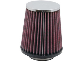 Air Filter Element; Aircharger, Round Tapered with End Cap, Chrome Finish