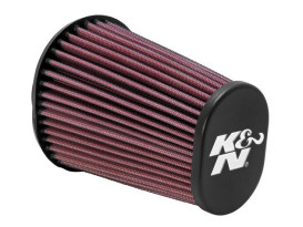 Air Filter Element; Aircharger, Oval Tapered with End Cap, Black Finish