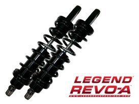 REVO-A Series, 14in. Adjustable Heavy Duty Spring Rate Rear Shock Absorbers -Black. Fits Dyna 1991-2017.