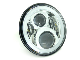 7in. LED HeadLight Insert with Halo - Chrome. Fts H-D, Indian Chief Classic & Dark Horse Models with 7in. Headlight.