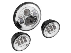 7in. HeadLight & 4.5in. Passing Lamps (2) Insert Bundle - Chrome. Fits H-D with 7in. Headlights & 4.5in. Passing Lamps.