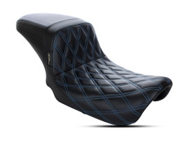 Kickflip Dual Seat with Blue Double Diamond Stitch. Fits Dyna 2006-2017.