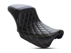 Kickflip Dual Seat with Gold Double Diamond Stitch. Fits Dyna 2006-2017.