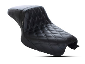 Kickflip Dual Seat with Black Double Diamond Stitch. Fits Sportster 2004-2006 & Sportster 2010up Models with either 3.3 or 4.5 Gallon Tank.