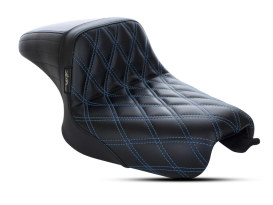 Kickflip Dual Seat with Blue Double Diamond Stitch. Fits Sportster 2004-2006 & Sportster 2010up Models with either 3.3 or 4.5 Gallon Tank.