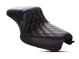 Kickflip Dual Seat with Red Double Diamond Stitch. Fits Sportster 2004-2006 & Sportster 2010up Models with either 3.3 or 4.5 Gallon Tank.