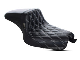 Kickflip Dual Seat with White Double Diamond Stitch. Fits Sportster 2004-2006 & Sportster 2010up Models with either 3.3 or 4.5 Gallon Tank.