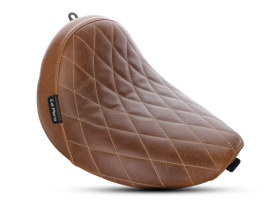 BareBones Solo Seat with Diamond Stitch & Brown Finish. Fits Softail Slim 2016-2017 Models.