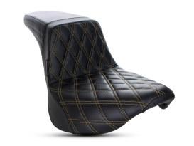 Kickflip Dual Seat with Gold Double Diamond Stitch. Fits Softail Slim & Street Bob 2018up & Standard 2020up.
