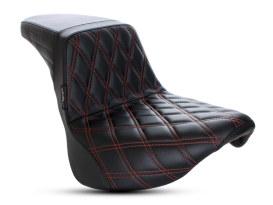 Kickflip Dual Seat with Red Double Diamond Stitch. Fits Softail Slim & Street Bob 2018up & Standard 2020up.