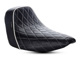 Bare Bones Solo Seat with White Diamond Stitch & Piping. Fits Sport Glide & Low Rider 2018up & Low Rider S 2020up.