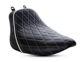 Bare Bones Solo Seat with White Diamond Stitch & Piping. Fits Softail Deluxe & Heritage Softail Classic 2018up.