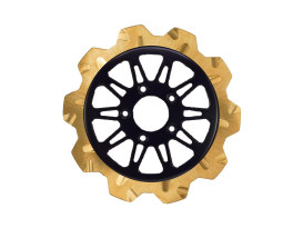 11.8in. Front Omega Crown Disc Rotor - Gold Band & Black Carrier. Fits Dyna 2006-2017, Softail 2015up, Sportster 2014up & Some Touring 2008up.