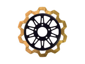 11.8in. Front Omega Bow-Tie Disc Rotor - Gold Band & Black Carrier. Fits Dyna 2006-2017, Softail 2015up, Sportster 2014up & Some Touring 2008up.