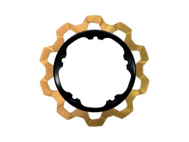11.8in. Front Bow-Tie Disc Rotor - Gold Band & Black Carrier. Fits V-Rod & Dyna 2006-2017 Models with OEM Cast Wheel.