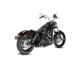 Lowdown Exhaust with Black Finish & Gloss Black End Caps. Fits Dyna 2006-2017.