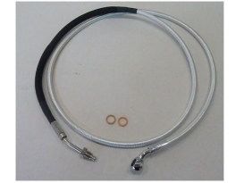 66in. Hydraulic Clutch Line with 10mm x 35 Degree Banjo - Sterling Chromite. Fits Touring & Softail 2013-2016 Models fitted with the Original H-D Hydraulic Clutch.