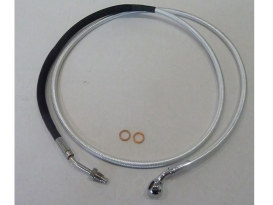 76in. Hydraulic Clutch Line with 10mm x 35 Degree Banjo - Sterling Chromite. Fits Touring & Softail 2013-2016 Models fitted with the Original H-D Hydraulic Clutch.