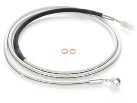 82in. Hydraulic Clutch Line with 10mm x 35 Degree Banjo - Sterling Chromite. Fits Touring & Softail 2017up Models with the Original H-D Hydraulic Clutch.