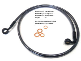 44in. E-Z Align Front Brake Line with 7/16in. x 35 Degree Banjo - Black Pearl.