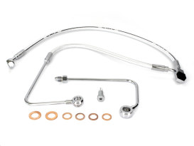 Stock Length Lower Front Brake Line with Sterling Chromite Finish. Fits FLST Softail 2011-2017 & Breakout 2015-2017 Models with Single Front Disc Caliper.
