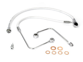 Stock Length Lower Front Brake Line with Sterling Chromite Finish. Fits FXST Softail 2011-2015 & Rocker 2011up Models with Single Front Disc Caliper.
