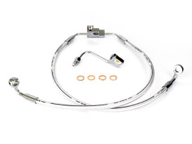 Stock Length Lower Front Brake Line - Sterling Chromite. Fits Dyna Fat Bob 2012up & Dyna Low Rider 2014up Models with Dual Front Disc Calipers.