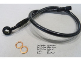 24in. Upper Front Brake Line with 10mm x 35 Degree Banjo - Black Pearl.