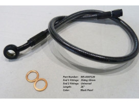 26in. Upper Front Brake Line with 10mm x 35 Degree Banjo - Black Pearl.