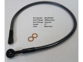 17in. Upper Front Brake Line with 10mm x 180 Degree Banjo - Black Pearl.