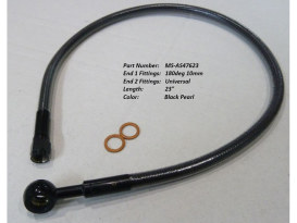 23in. Upper Front Brake Line with 10mm x 180 Degree Banjo - Black Pearl.