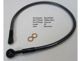 30in. Upper Front Brake Line with 10mm x 180 Degree Banjo - Black Pearl.