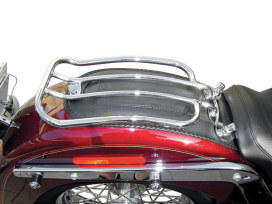 Solo Seat Luggage Rack - Chrome. Fits Fat Boy 2007-2017, Heritage Softail 2005-2017, Softail Deluxe 2005-2017 & Softail Custom 2007-2010.