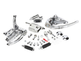 Standard Length Forward Controls with Chrome Finish. Fits Softail 2000-2017 when Performance Machine Footpegs are not Required.