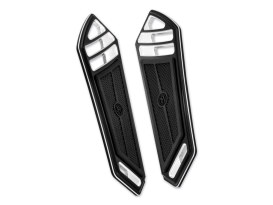 Performance Machine Superlight Front Floorboards with Black Contrast Cut Finish. Fits Touring 1983up & FL Softail 1986up.
