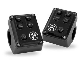 Performance Machine Left Hand & Right Hand Switch Assembly with Black Contrast Cut Finish. Fits Softail 2011.