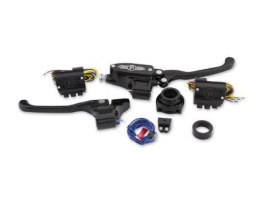 Handlebar Control Kit with Black Contrast Cut Finish. Fits Big Twin 1984-2011 with Clutch Cable & Single Disc Rotor.